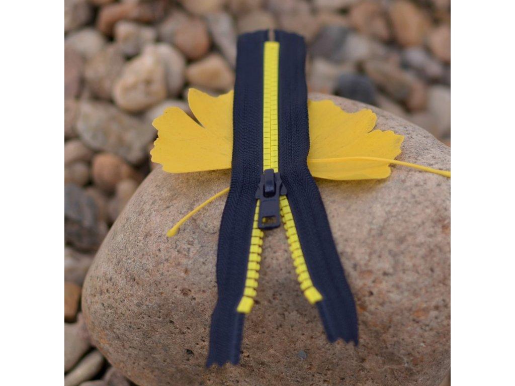 nedělitelný kostěný zip YKK - 20 cm, žluté zuby, tmavě šedá stuha