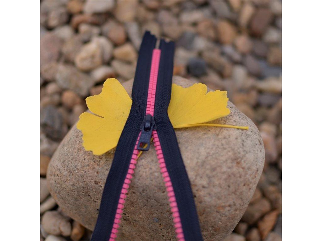nedělitelný kostěný zip YKK - 20 cm, růžové zuby, tmavě šedá stuha