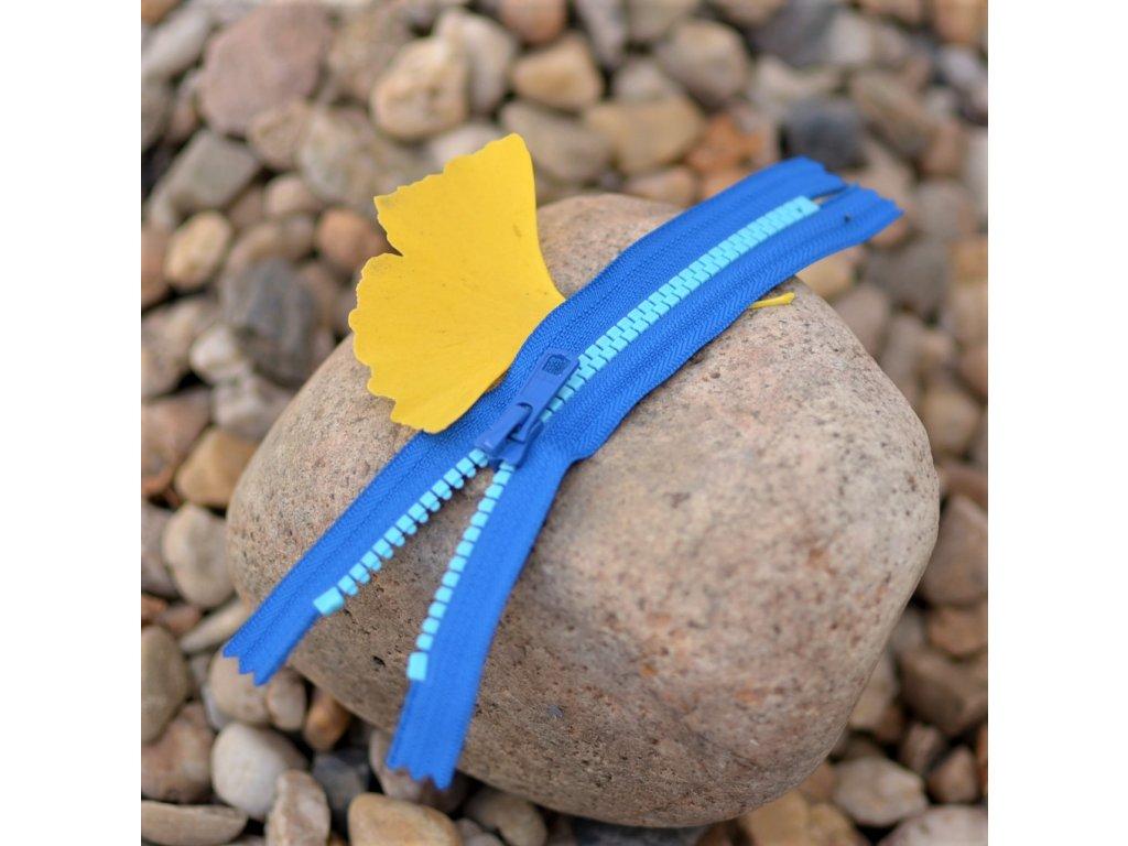 nedělitelný kostěný zip YKK - 16 cm, kombinace modré