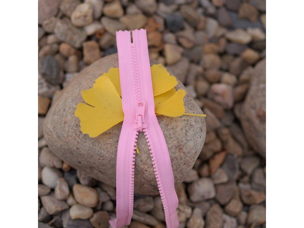 nedělitelný kostěný zip YKK - 20 cm, růžový