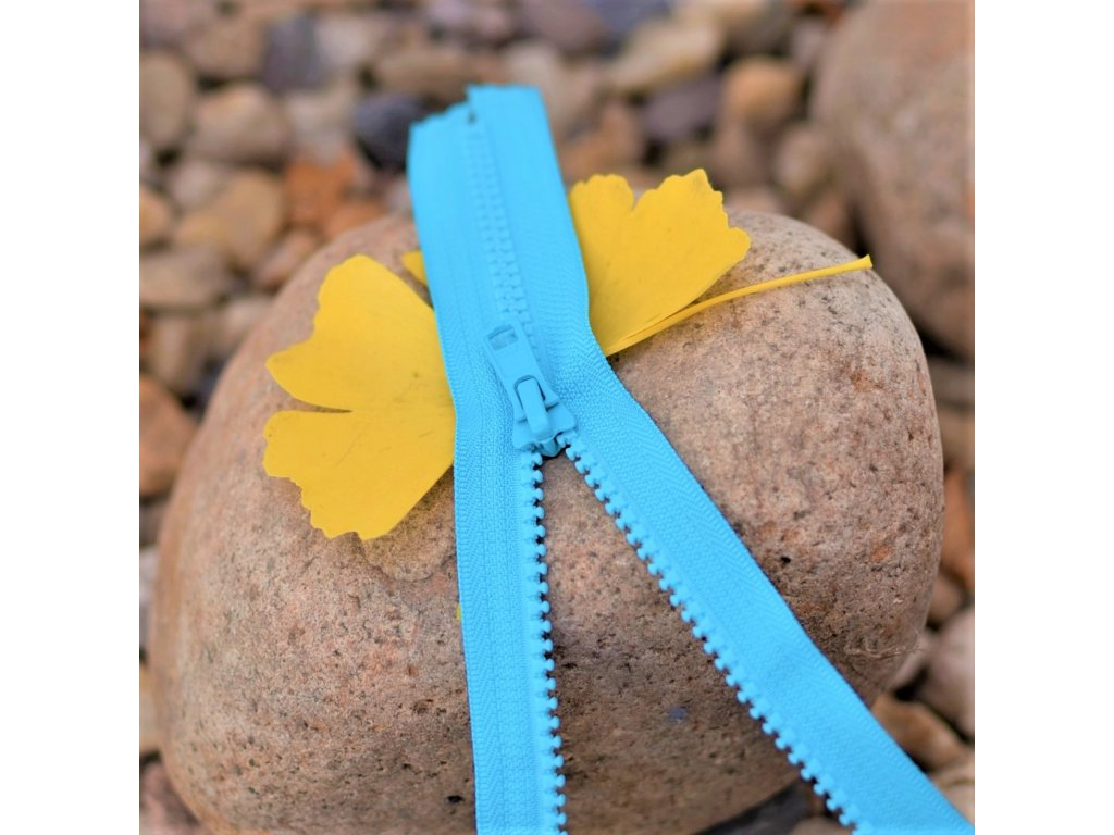 nedělitelný kostěný zip YKK - 20 cm, tyrkysový