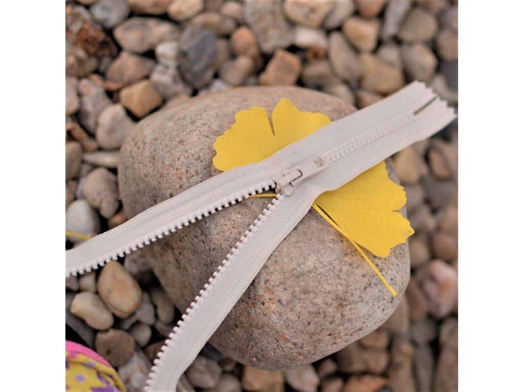 nedělitelný kostěný zip YKK - 20 cm, béžový
