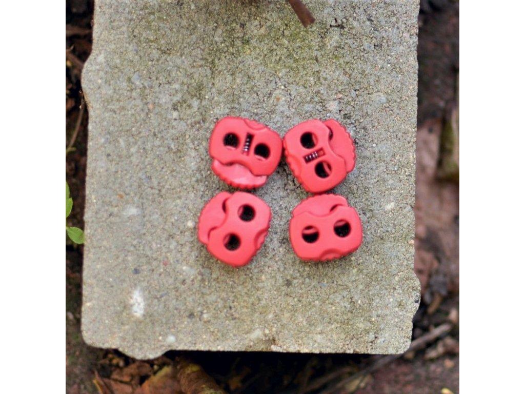 brzdička na tkanice 2 dírky prům. 4 mm červená