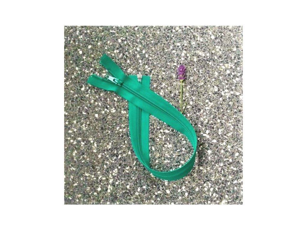 dělitelný spirálový zip YKK - 56 cm, zelený