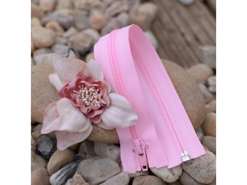 dělitelný spirálový zip YKK - 40 cm, růžový