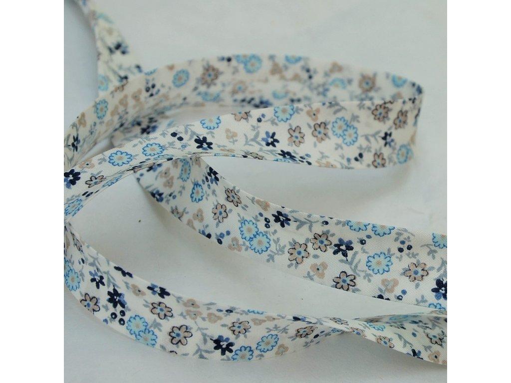 0,5 m šikmý proužek drobné květinky modré 18 mm (bavlna)
