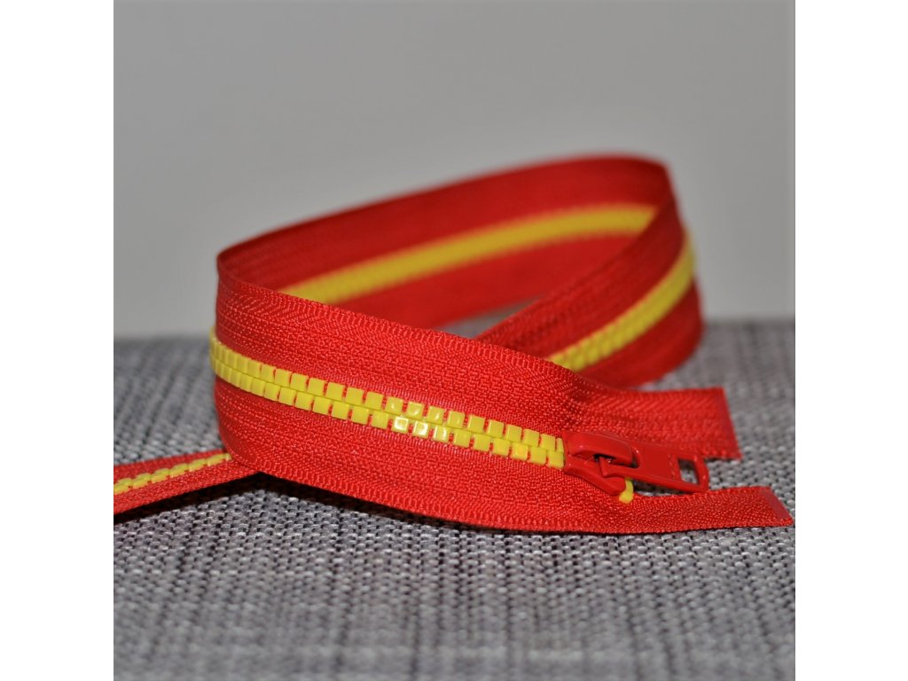 dělitelný kostěný zip YKK - 65 cm, červená stuha, žluté zuby