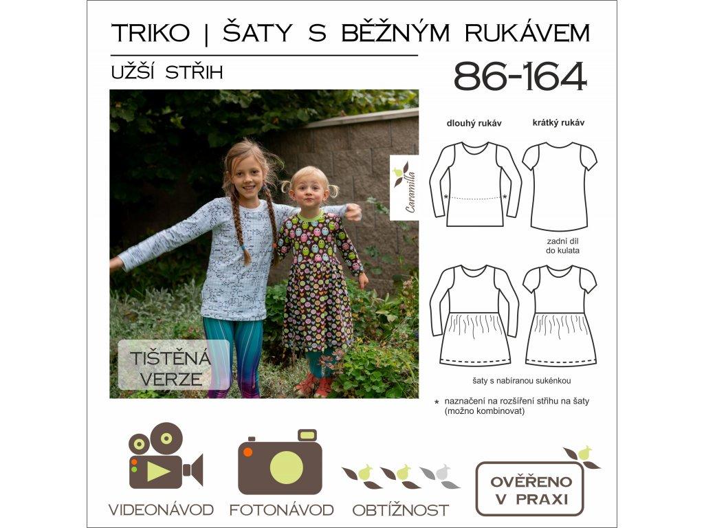 dětské triko a šaty s běžným rukávem UŽŠÍ střih - tištěný střih Caramilla