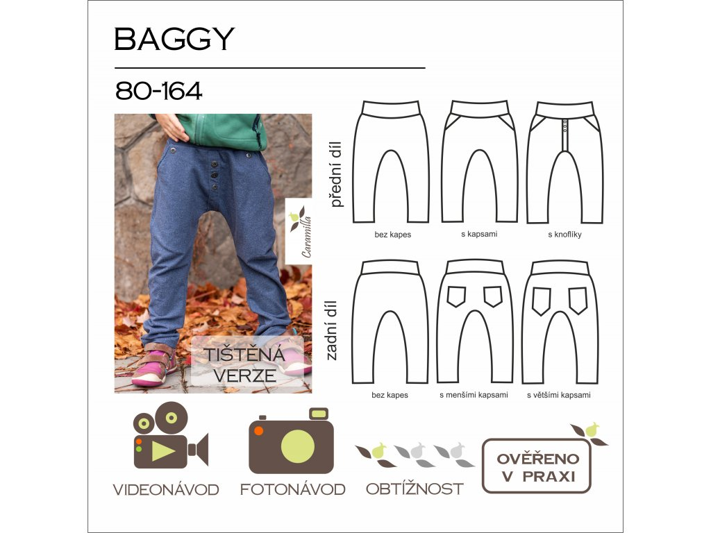 dětské tepláky baggy - tištěný střih Caramilla
