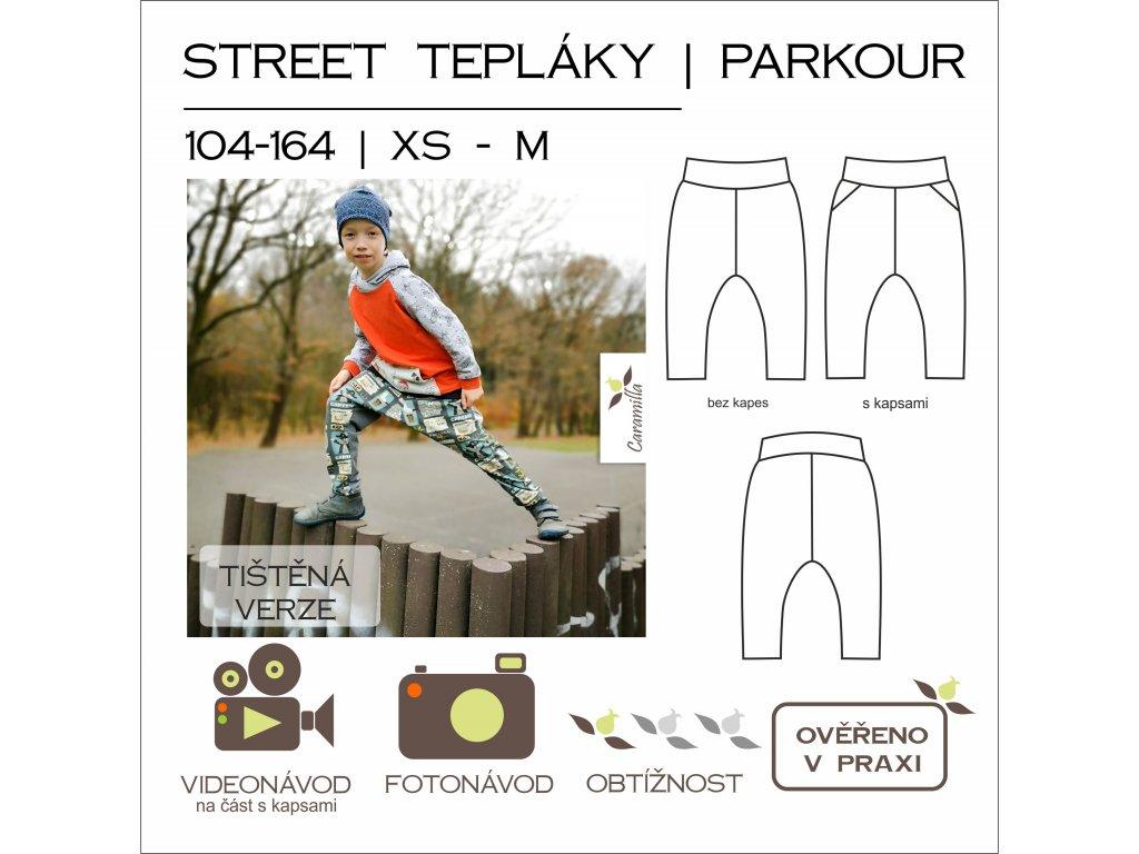 dětské street (parkour) tepláky - tištěný střih Caramilla