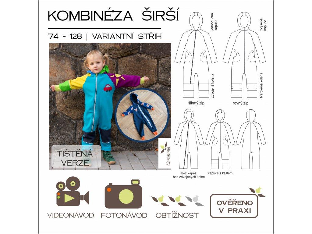 dětská kombinéza ŠIRŠÍ verze - tištěný střih Caramilla
