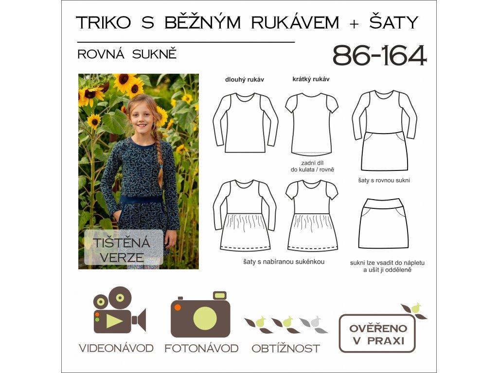 dětské triko s běžným rukávem (UŽŠÍ) + šaty s rovnou sukní - tištěný střih Caramilla