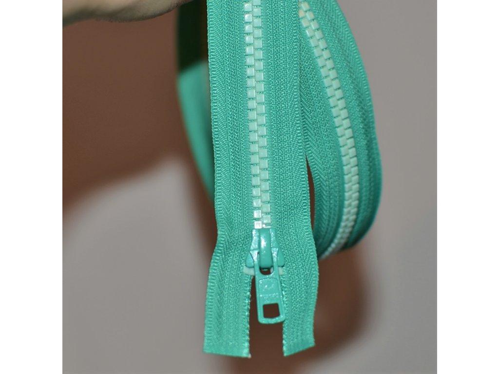 dělitelný kostěný zip YKK - 45 cm, zelená stuha, zelené mint zuby