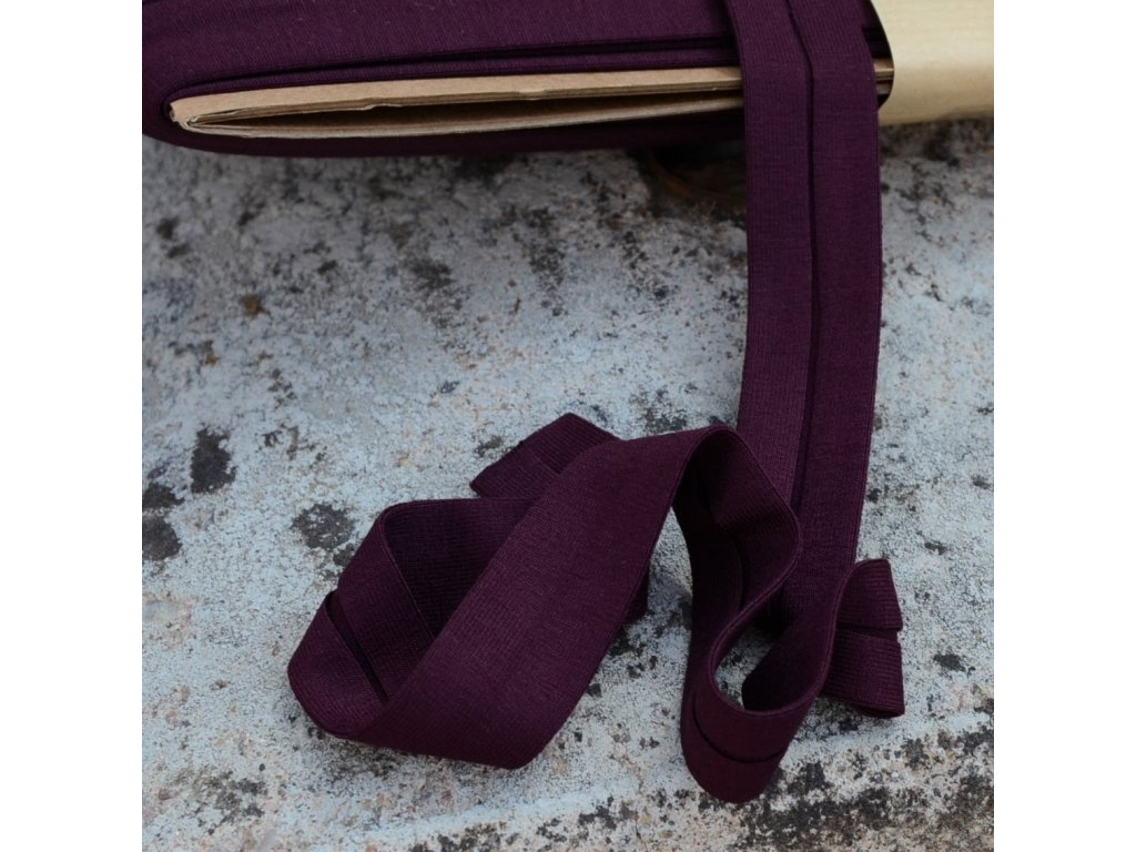 3 m šikmý proužek úplet tmavě fialový 20 mm