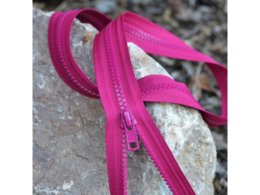 dělitelný kostěný zip YKK - 75 cm, magenta