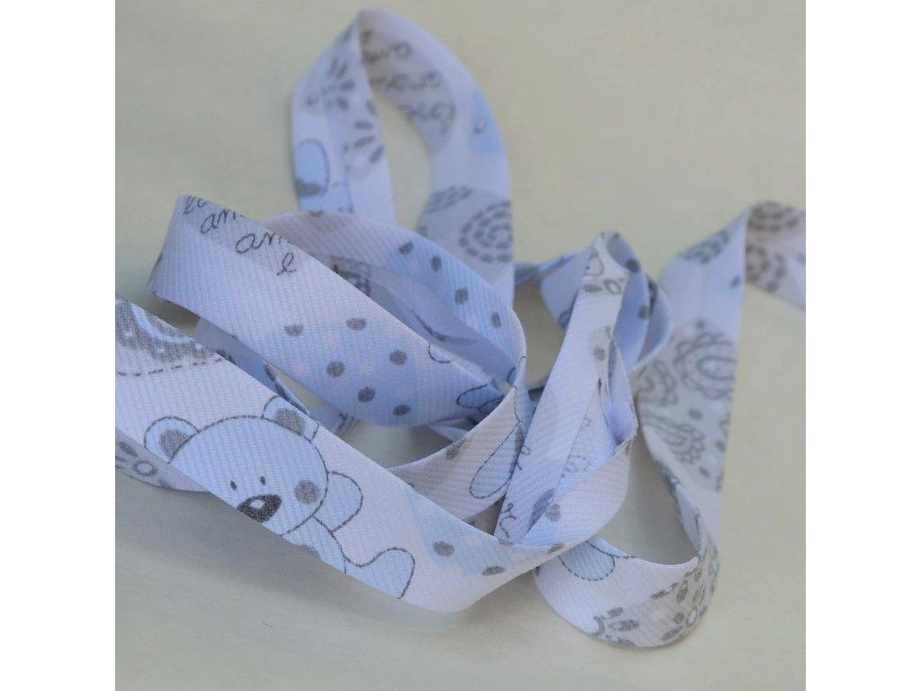 0,5 m šikmý proužek medvídci šedomodří 18 mm (bavlna/polyester)