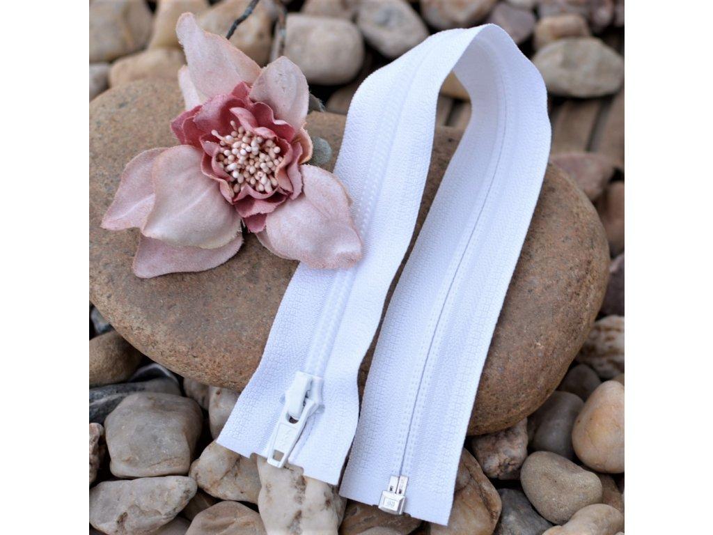 dělitelný spirálový zip YKK - 65 cm, bílý