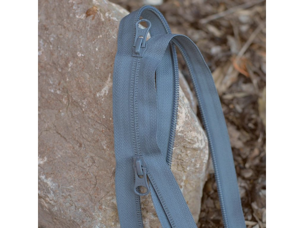 dělitelný reverzní spirálový zip YKK (dva jezdci) - 80 cm, šedý