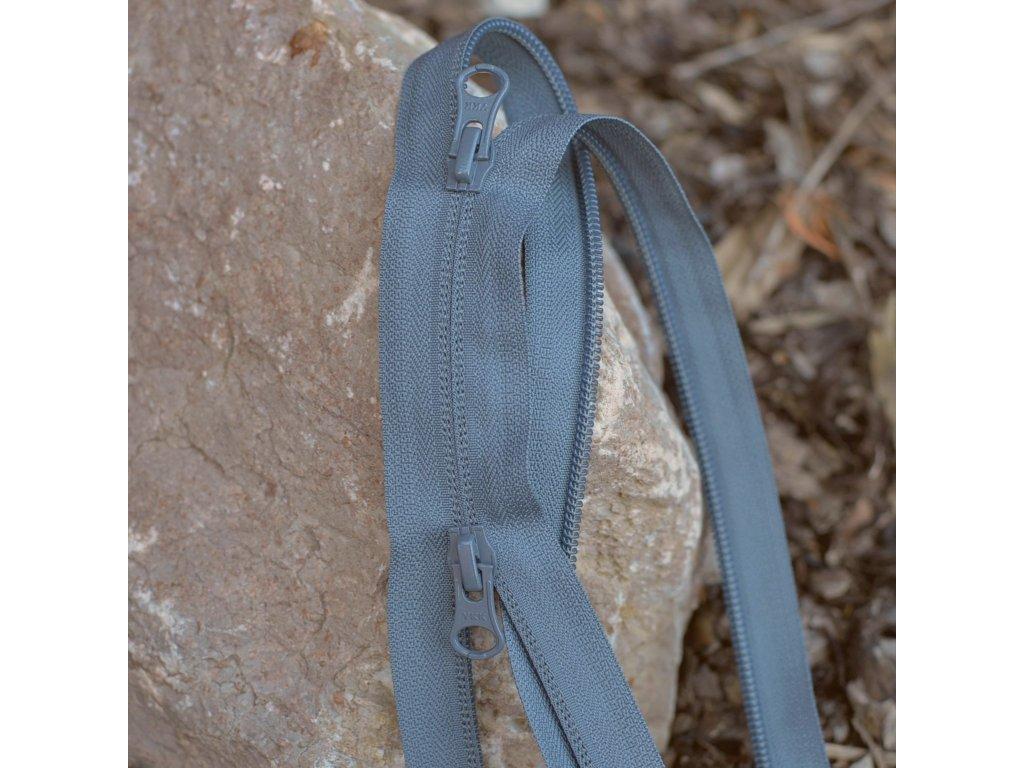 dělitelný reverzní spirálový zip YKK (2 jezdci) - 85 cm, šedý