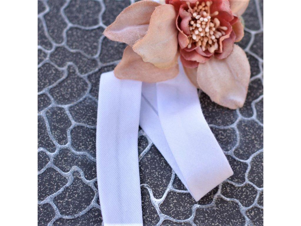 0,5 m šikmý proužek bavlněný úplet bílý 20 mm