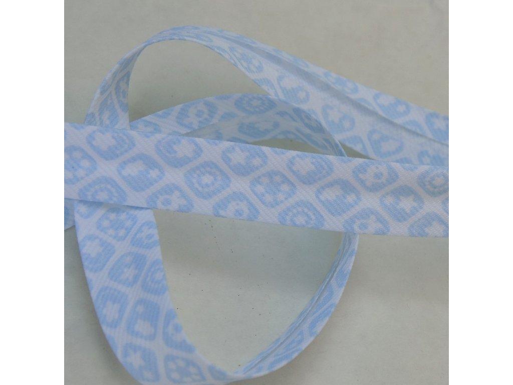 0,5 m šikmý proužek zažehlený modré kostičky 18 mm (bavlna/polyester)