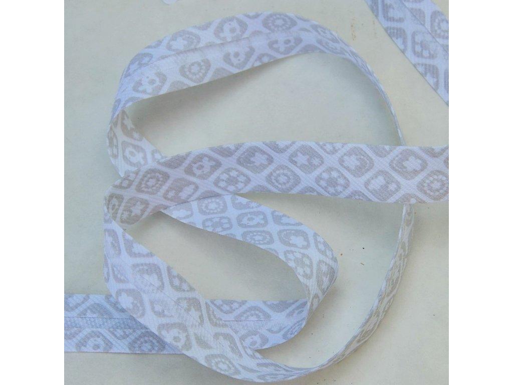 0,5 m šikmý proužek zažehlený šedé kostičky 18 mm (bavlna/polyester)