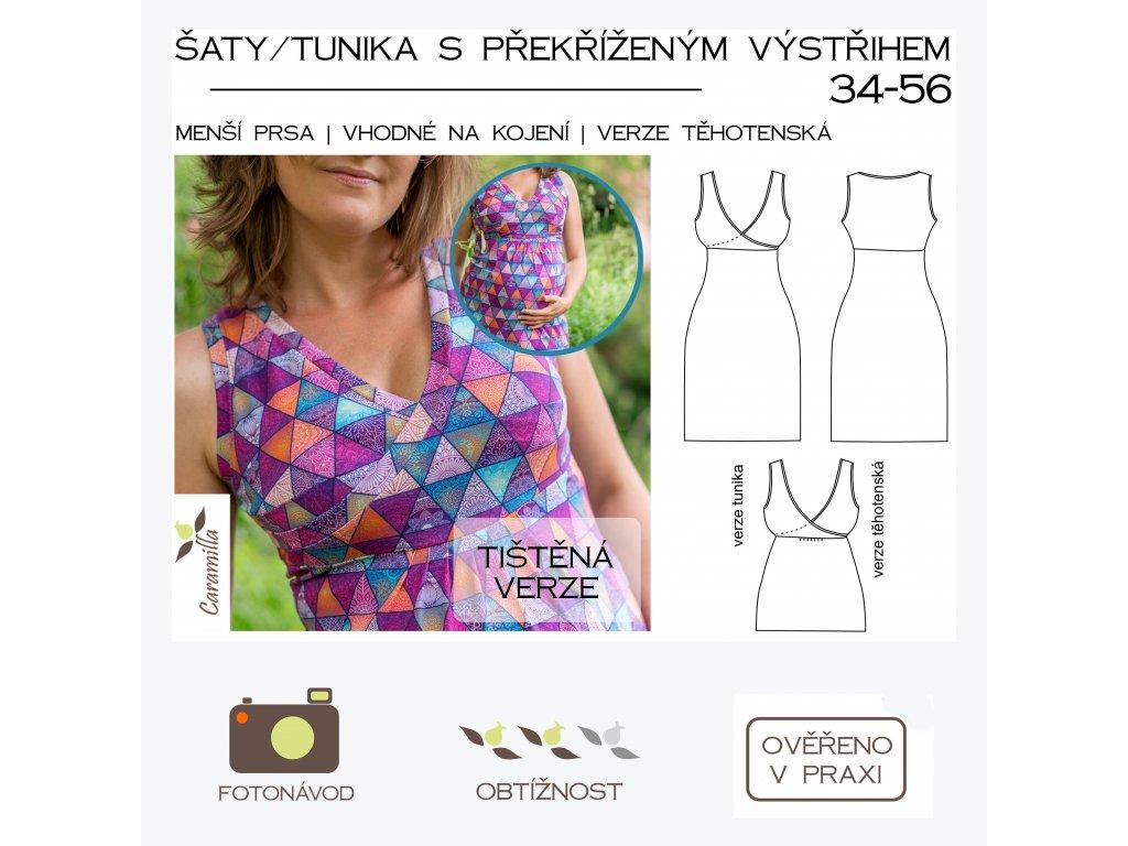 šaty/tunika s překříženým výstřihem (menší prsa) - tištěný střih Caramilla
