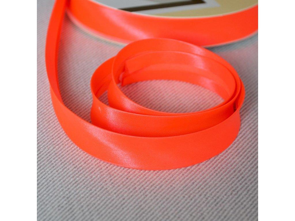 0,5 m šikmý proužek neon oranžový 18 mm (100% polyester)