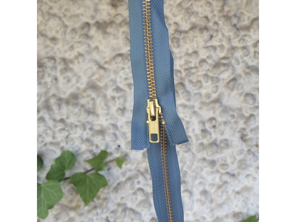 dělitelný kovový zip YKK - 40 cm, modrošedý