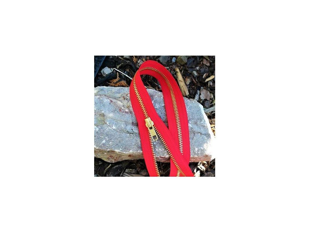 dělitelný kovový zip YKK - 90 cm, červený