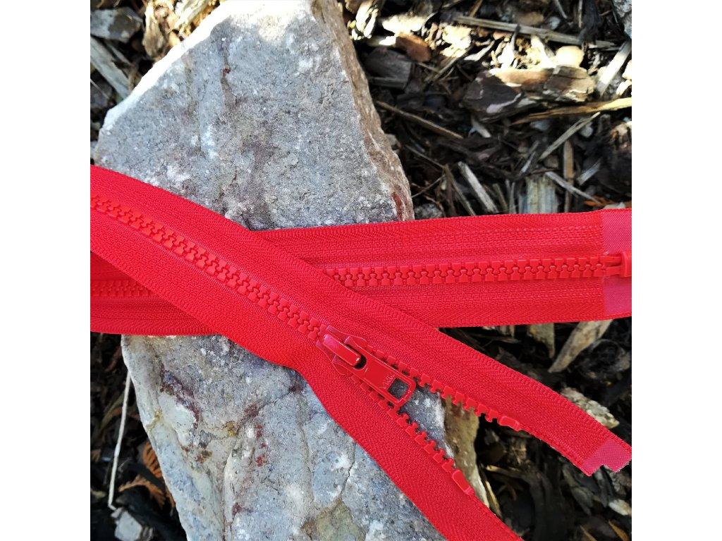 dělitelný kostěný zip YKK - 70 cm, červený