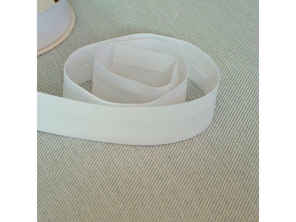 0,5 m bavlněný šikmý proužek bílý 30 mm (100% bavlna)