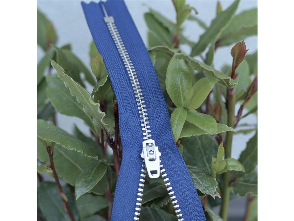 kalhotový kovový zip YKK - 14 cm, modrý