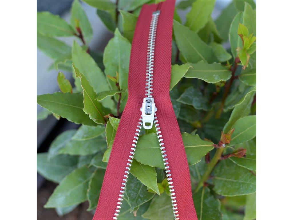 kalhotový kovový zip YKK - 10 cm, červený