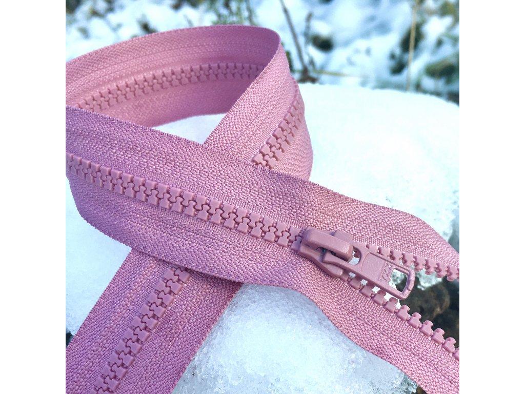 dělitelný kostěný zip YKK - 50 cm, starorůžová