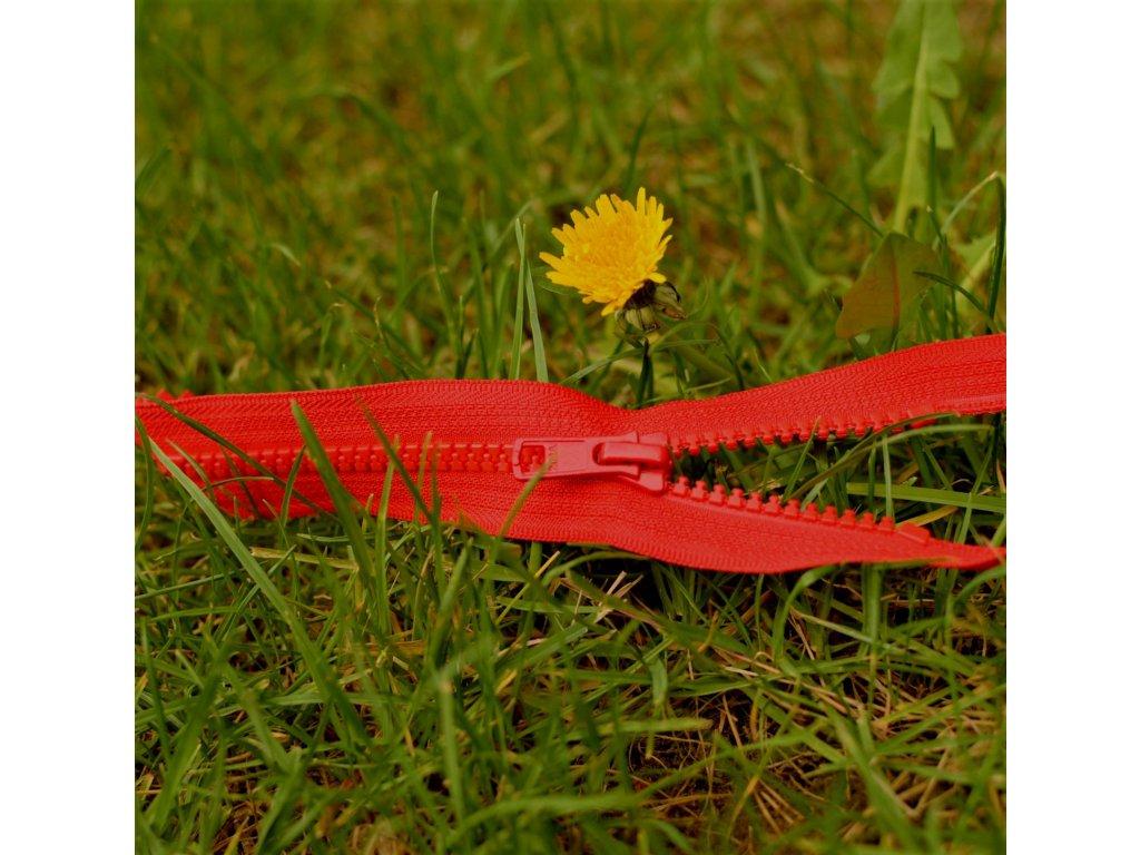 nedělitelný kostěný zip YKK - 16 cm, červený