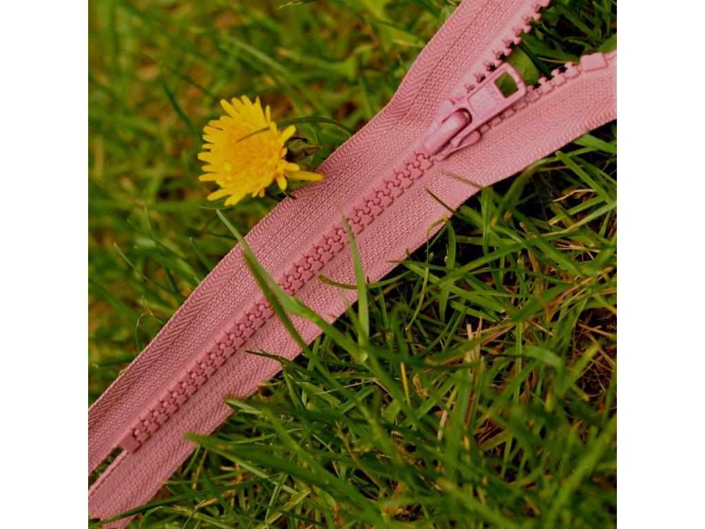 nedělitelný kostěný zip YKK - 16 cm, starorůžový