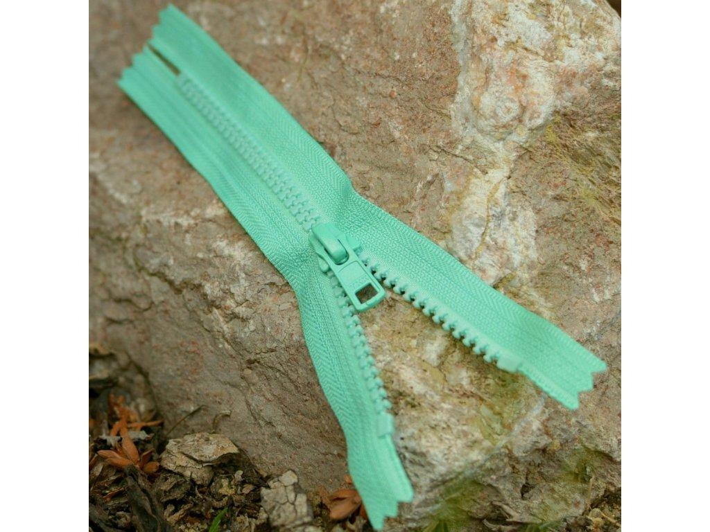 nedělitelný kostěný zip YKK - 16 cm, zelená mint
