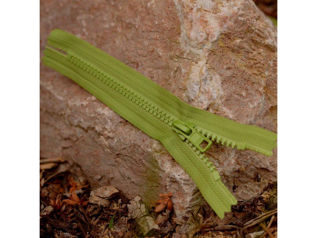 nedělitelný kostěný zip YKK - 16 cm, khaki