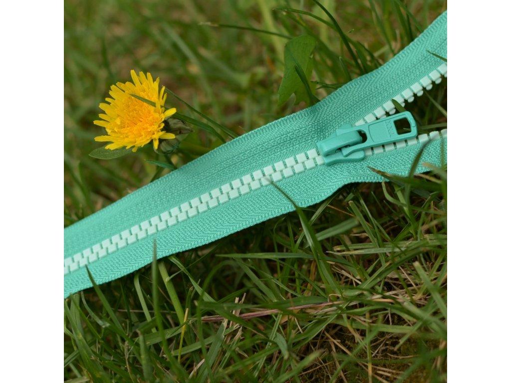 nedělitelný kostěný zip YKK - 16 cm, zelená stuha, zelené mint zuby