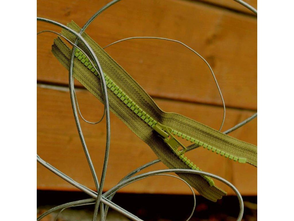 nedělitelný kostěný zip YKK - 16 cm, khaki kombinace