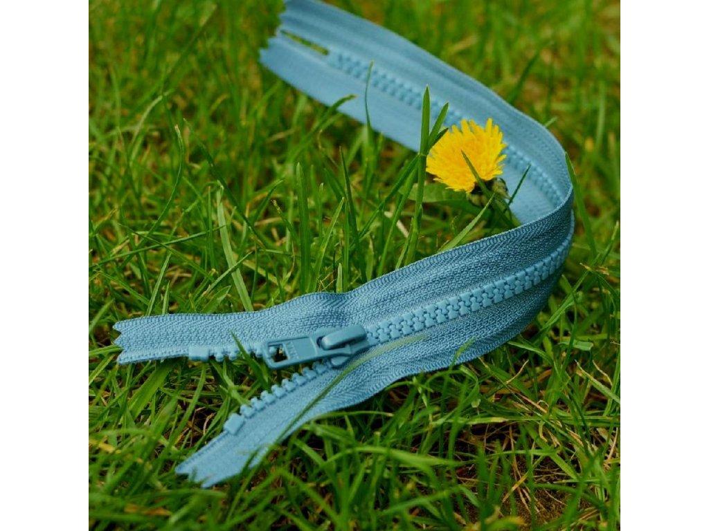 nedělitelný kostěný zip YKK - 25 cm, modrošedý