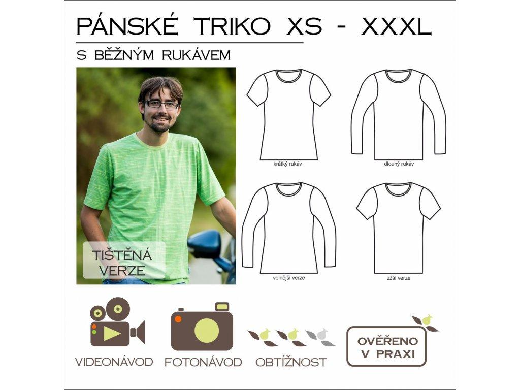 pánské triko s běžným rukávem - tištěný střih Caramilla