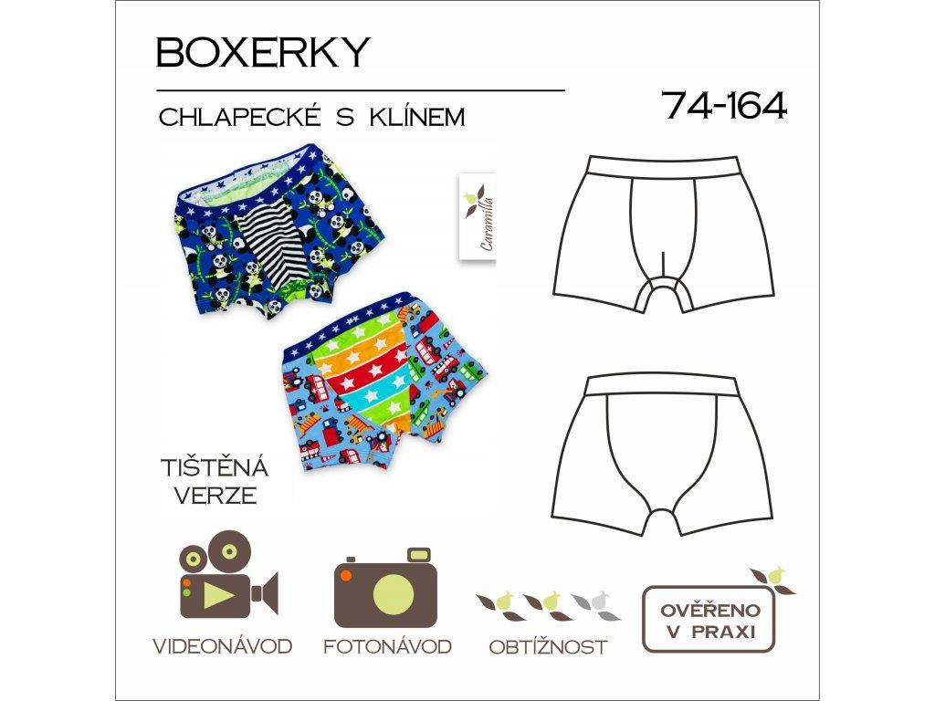 chlapecké trenky boxerky s klínem  vel. 74 - 164 - tištěný střih Caramilla