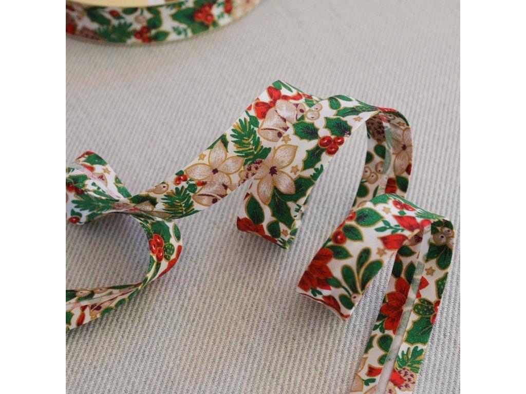 0,5 m šikmý proužek vánoční růže na bílé 18 mm (bavlna)