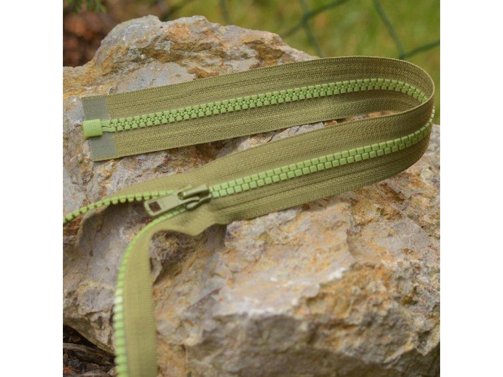 dělitelný kostěný zip YKK - 65 cm, khaki kombinace