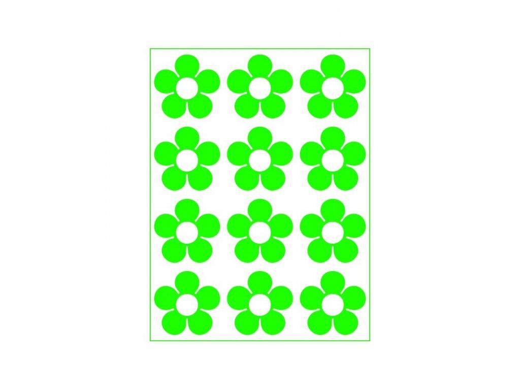 Neonový nažehlovací potisk - Kytičky I, zelené