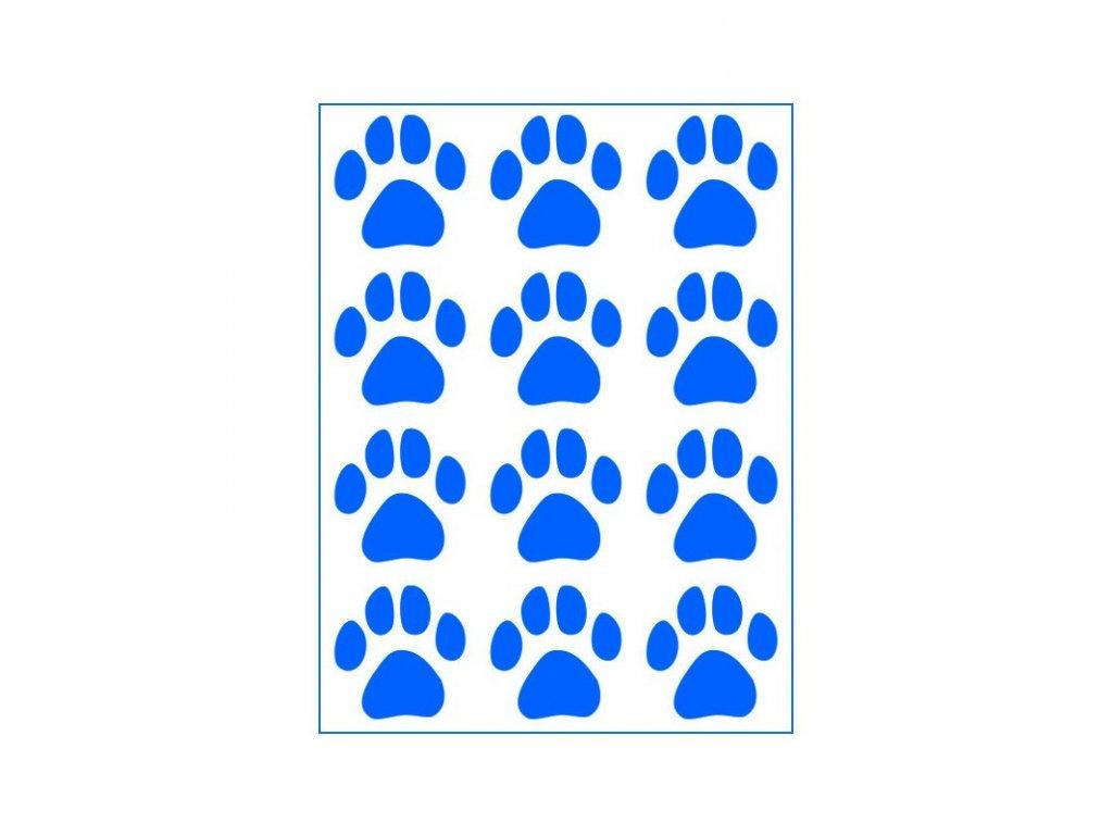 Neonový nažehlovací potisk - Psí stopy I, modré