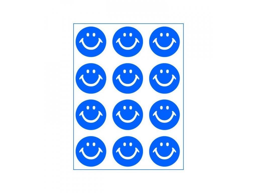 Neonový nažehlovací potisk - Smajlík, modrý
