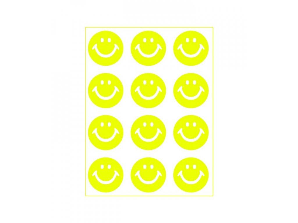 Neonový nažehlovací potisk - Smajlík, žlutý